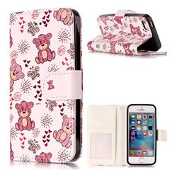 Cute Bear 3D Relief Oil PU Leather Wallet Case for iPhone SE 5s 5