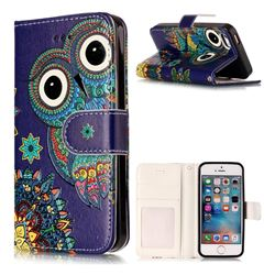 Folk Owl 3D Relief Oil PU Leather Wallet Case for iPhone SE 5s 5
