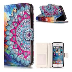 Mandala Flower 3D Relief Oil PU Leather Wallet Case for iPhone SE 5s 5