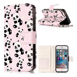 Cute Panda 3D Relief Oil PU Leather Wallet Case for iPhone SE 5s 5