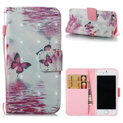 Purple Butterfly 3D Painted Leather Wallet Case for iPhone SE 5s 5