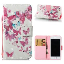 Heart Butterfly 3D Painted Leather Wallet Case for iPhone SE 5s 5