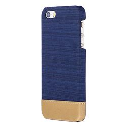 Canvas Cloth Coated Plastic Back Cover for iPhone SE 5s 5 - Dark Blue