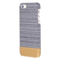 Canvas Cloth Coated Plastic Back Cover for iPhone SE 5s 5 - Light Grey
