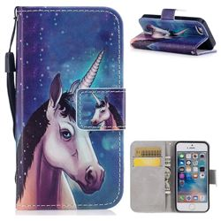 Blue Unicorn PU Leather Wallet Case for iPhone SE 5s 5