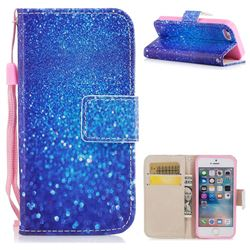 Blue Powder PU Leather Wallet Case for iPhone SE 5s 5