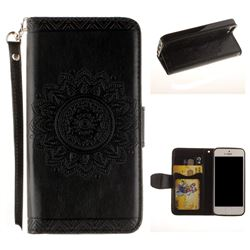 Embossed Datura Flower PU Leather Wallet Case for iPhone SE 5s 5 - Black