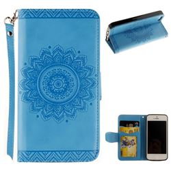 Embossed Datura Flower PU Leather Wallet Case for iPhone SE 5s 5 - Blue