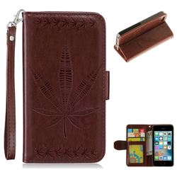 Intricate Embossing Maple Leather Wallet Case for iPhone SE 5s 5 - Brown