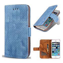 Luxury Vintage Mesh Monternet Leather Wallet Case for iPhone SE 5s 5 - Blue