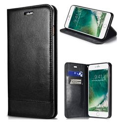 Magnetic Suck Stitching Slim Leather Wallet Case for iPhone SE 5s 5 - Black