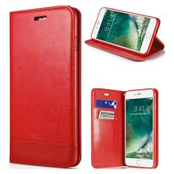 Magnetic Suck Stitching Slim Leather Wallet Case for iPhone SE 5s 5 - Red
