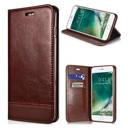 Magnetic Suck Stitching Slim Leather Wallet Case for iPhone SE 5s 5 - Brown