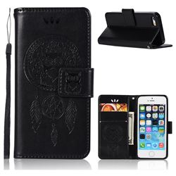 Intricate Embossing Owl Campanula Leather Wallet Case for iPhone SE 5s 5 - Black