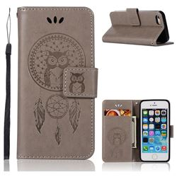 Intricate Embossing Owl Campanula Leather Wallet Case for iPhone SE 5s 5 - Grey