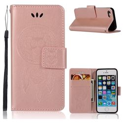 Intricate Embossing Owl Campanula Leather Wallet Case for iPhone SE 5s 5 - Rose Gold