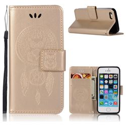 Intricate Embossing Owl Campanula Leather Wallet Case for iPhone SE 5s 5 - Champagne