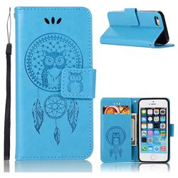 Intricate Embossing Owl Campanula Leather Wallet Case for iPhone SE 5s 5 - Blue
