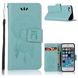 Intricate Embossing Owl Campanula Leather Wallet Case for iPhone SE 5s 5 - Green