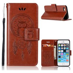 Intricate Embossing Owl Campanula Leather Wallet Case for iPhone SE 5s 5 - Brown