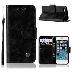 Luxury Retro Leather Wallet Case for iPhone SE 5s 5 - Black