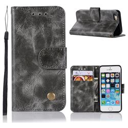Luxury Retro Leather Wallet Case for iPhone SE 5s 5 - Gray