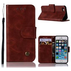 Luxury Retro Leather Wallet Case for iPhone SE 5s 5 - Wine Red