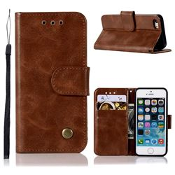 Luxury Retro Leather Wallet Case for iPhone SE 5s 5 - Brown