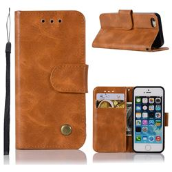 Luxury Retro Leather Wallet Case for iPhone SE 5s 5 - Golden