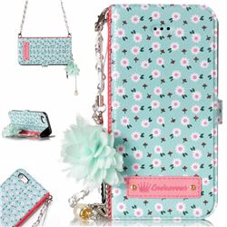Daisy Endeavour Florid Pearl Flower Pendant Metal Strap PU Leather Wallet Case for iPhone SE 5s 5
