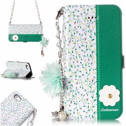 Magnolia Endeavour Florid Pearl Flower Pendant Metal Strap PU Leather Wallet Case for iPhone SE 5s 5