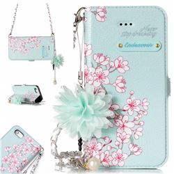 Cherry Blossoms Endeavour Florid Pearl Flower Pendant Metal Strap PU Leather Wallet Case for iPhone SE 5s 5