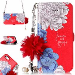 Red Chrysanthemum Endeavour Florid Pearl Flower Pendant Metal Strap PU Leather Wallet Case for iPhone SE 5s 5