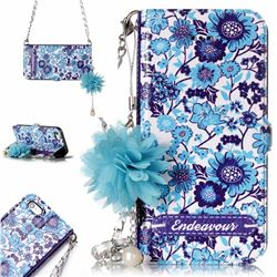Blue-and-White Endeavour Florid Pearl Flower Pendant Metal Strap PU Leather Wallet Case for iPhone SE 5s 5