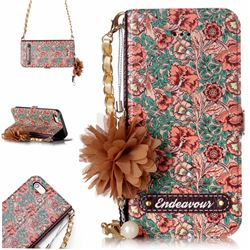 Impatiens Endeavour Florid Pearl Flower Pendant Metal Strap PU Leather Wallet Case for iPhone SE 5s 5