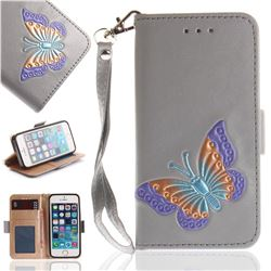 Imprint Embossing Butterfly Leather Wallet Case for iPhone SE 5s 5 - Grey