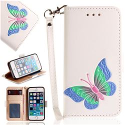 Imprint Embossing Butterfly Leather Wallet Case for iPhone SE 5s 5 - White