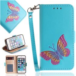 Imprint Embossing Butterfly Leather Wallet Case for iPhone SE 5s 5 - Sky Blue