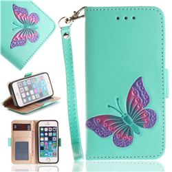 Imprint Embossing Butterfly Leather Wallet Case for iPhone SE 5s 5 - Mint Green