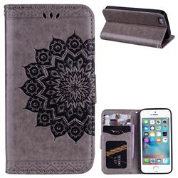Datura Flowers Flash Powder Leather Wallet Holster Case for iPhone SE 5s 5 - Gray