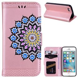 Datura Flowers Flash Powder Leather Wallet Holster Case for iPhone SE 5s 5 - Pink