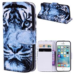 Snow Tiger 3D Relief Oil PU Leather Wallet Case for iPhone SE 5s 5