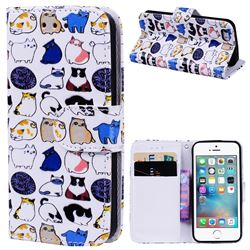 Mini Cat 3D Relief Oil PU Leather Wallet Case for iPhone SE 5s 5
