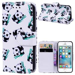 Bamboo Panda 3D Relief Oil PU Leather Wallet Case for iPhone SE 5s 5