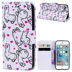 Alpaca 3D Relief Oil PU Leather Wallet Case for iPhone SE 5s 5