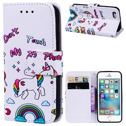 Rainbow Unicorn 3D Relief Oil PU Leather Wallet Case for iPhone SE 5s 5