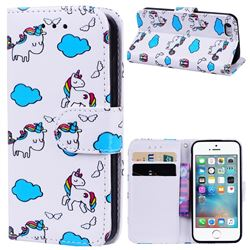 Cloud Horse 3D Relief Oil PU Leather Wallet Case for iPhone SE 5s 5