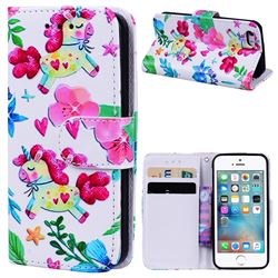 Flowers Unicorns 3D Relief Oil PU Leather Wallet Case for iPhone SE 5s 5