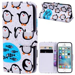 Penguin 3D Relief Oil PU Leather Wallet Case for iPhone SE 5s 5