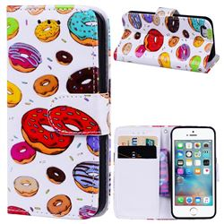 Doughnut 3D Relief Oil PU Leather Wallet Case for iPhone SE 5s 5